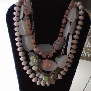 Lot of 4 Vintage Necklaces. Pink Lot.
